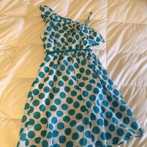 Other - White Girls Dress With Blue polkadots